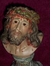 SUPERBE ANCIEN BUSTE RELIGIEUX / JESUS SUFFRANT / EGLISE / PLATRE/HT 27 cm/XXème