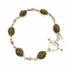 NWT $35 Lucky Brand Two Tone Linked Shiny Pave Stone Toggle Bracelet
