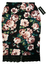 NWT ROSES PEONY FLOWER FLORAL BLACK PENCIL SKIRT STRETCHY LACE BURGUNDY TEAL S