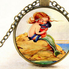 New Mystical Sea Ocean Mermaid Girl with Black Negro Rag Doll, Pendant Necklace