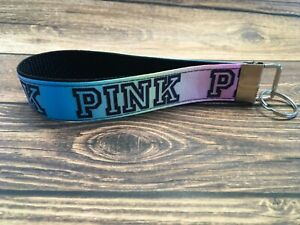 Key Fob Chain Holder Wrist Lanyard VS Pink Pastel Rainbow Ombré Hands Free
