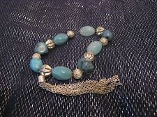 Very pretty elasticated beaded bracelet turquoise silver with chain fringe