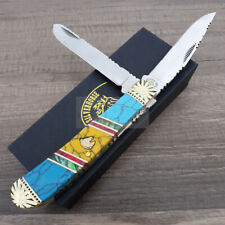 Frost Cutlery Trapper Pocket Knife Stainless Blade Turquoise Abalone Handle