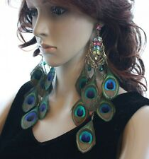 11b12-9 crystal peacock Feather stud Earrings copper Tone 1 Pair lhf130518