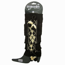 Women Leg Warmers Argyle Pattern w/Pom Poms Knit Stretchy Slip on Slouchy Warm