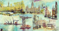 PRINT OF GLASGOWS FAMOUS LANDMARKS  BY GLASGOW ARTIST