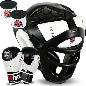 Flaresports Head Guard Face Protection helmet Gear Hand Wraps Kick Boxing Gloves
