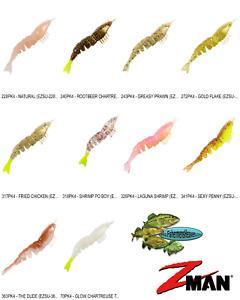 Z-MAN EZ ShrimpZ UNRIGGED 3.5 Inch (EZSU) Any 10 Color ElazTech Baits 4pack