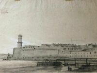 19th Old Vintage Drawing - Dessin Ancien - Maritime Landscape, Corot - Marseille