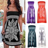 Women Floral Boho Strapless Smock Dress Ladies Boobtube Bandeau Swing Dress Top