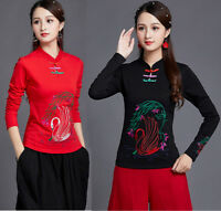 Womens Chinese Embroidery Cotton Long Sleeve T-shirt Slim Traditional Top Blouse