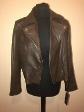 Barney's Original Women's Ladies Brown Leather Jacket Size UK 12 BNWT