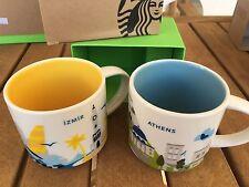 Starbucks Coffee 2x 'You Are Here' ATHENS & IZMIR YAH City Mugs, 2 mug lot!