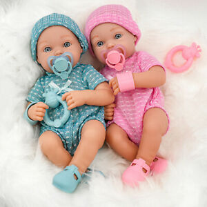 """14"""" Real Touch Vinyl New Born Girl / Boy Baby Doll, Dummy, Accessories, Bathable"""