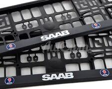 Euro Standart License Plates Frames with Saab Logo 2pcs.