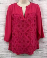 Investments Petites Womens Blouse Top Size Medium Fuchsia Lace Front 3/4 Sleeve
