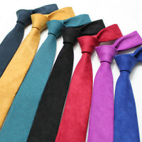 Men Fashion Velvet Tie Solid Color 6CM Skinny Business Wedding Party Necktie