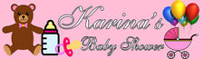 4ft Personalized Name Pink Teddy Bear Stroller Welcome Baby Shower Party Banner