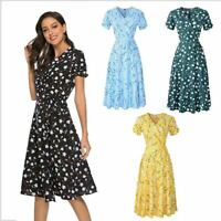 Fashion Sundress Floral Summer Dress Beach Tank OL Women Short Sleeve Pleated
