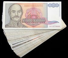100 x Yugoslavia 50 Billion Dinara banknotes /circulated currency bundle