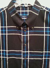 Men's   Burberry London  Sixe XXL  2XL   Black Blue Plaid LS    EUC