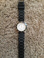 Juicy Couture Watch With Crystals And Black Rubber Band USED