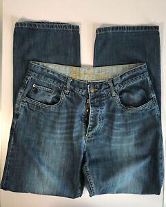 Men's BODEN Straight Leg Button Fly Regular Fit Faded Blue Denim Jeans W34 L30