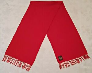 VINTAGE AUTHENTIC SOLID RED CASHMERE WOOL LONG MEN'S FRINGE SCARF
