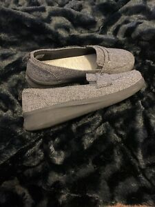 Clarks Ayla Cloudstepper Penny Loafer Shoes GRAY TWEED COMFORT 10 WIDE NEW $65