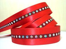 "1m Red Satin Ribbon With Diamante Sequin 7/8"" cake party bling Christmas xmas"