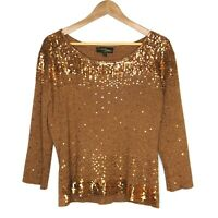 Vtg Christine Phillipe Womens Copper Sequin Jumper Sweater Size XXL Silk Blend