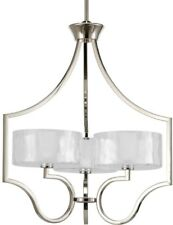 Chandelier 3-Light Single Tier Candle-Style in Polished Nickel with Glass Shade
