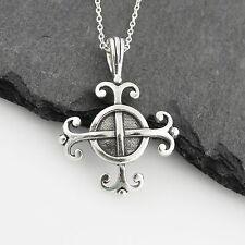 Celtic Wisdom Symbol Necklace - 925 Sterling Silver - Pendant Cross Swirls NEW