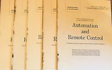 1962 5 Vol Automation and Remote Control Soviet Instrumentation Science Industry