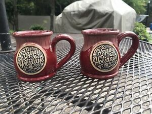 Deneen Pottery 2018 Another Broken Egg Happy Holidays Red & Cream 2 Coffee Mugs