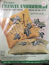 Paragon Crewel Embroidery Grape Cluster Pillow Kit 0714 NEW Vintage NOS