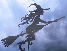Junge Hexe fliegend 60 x 43cm + Stab Hexen Rost Edelrost Metall Gartenstecker