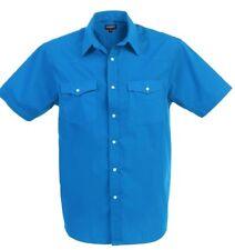 Men's Western Solid Short Sleeve Cowboy Pearl Snap Shirt Size S- 5XL Rodeo Shirt