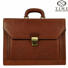 LEATHER BRIEFCASE LAPTOP BAG MENS BROWN BUSINESS GENUINE MADE IN ITALY NEW