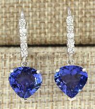 6.85 Carat Natural Tanzanite 14K White Gold Diamond Earrings