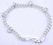 7 Inch 5mm Round Sterling Silver Double Link Charm  Bracelet With 5 Split Rings