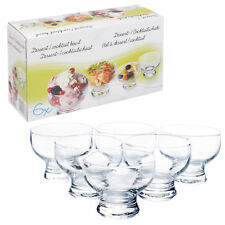 BOX OF 6 x GLASS ICE CREAM SUNDAE FOOTED APPETIZER DESSERT COCKTAIL FRUIT BOWLS