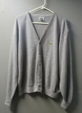 Vintage 60's Izod Lacoste Golf Cardigan Sweater Grandpa Boyfriend Sweater, Gray