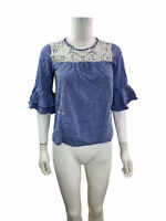 Ann Taylor Loft Women's Size SP Round Neck 3/4 Bell Sleeve Blue White Blouse