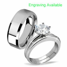 Wedding Ring Set Bevel Edge Wedding Band His & Hers Stainless Steel Princess Cz