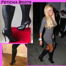Christian Louboutin Leopard Feticha Black Leather Knee High 38 Boots US 7 - 7.5