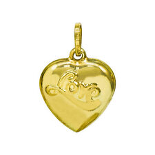 Charm Pendant, 0.74 Inches 14K Yellow Gold Love Heart