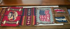 Large Lot of 11 Tobacco Felts Stitched Together Native American and Flags