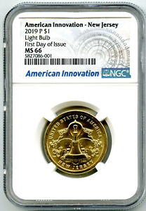 2019 P $1 NEW JERSEY NGC MS66 AMERICAN INNOVATION DOLLAR FIRST DAY ISSUE CERT 01