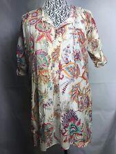 1ff75f9e Zara Women Dress size M cotton floral pleated rolling sleeve beige green  red 78